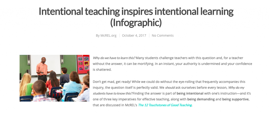 Intentional Teaching Inspires article