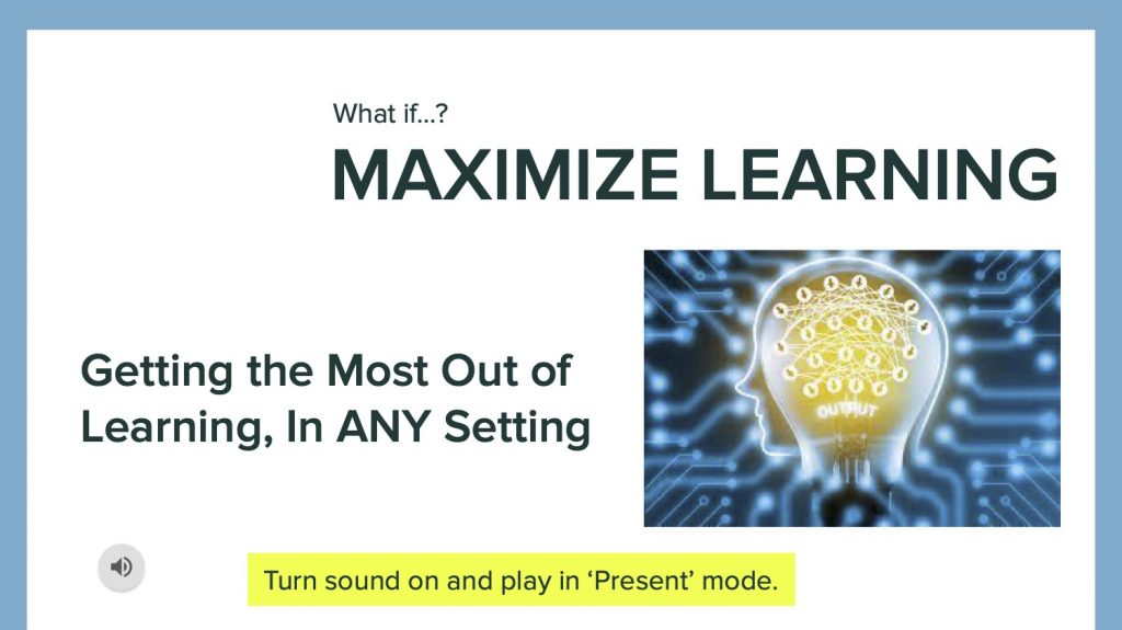 What if... maximize learning lesson